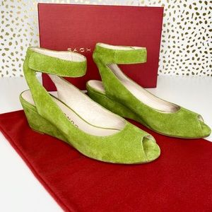 Sacha London Venice Green Suede Wedges